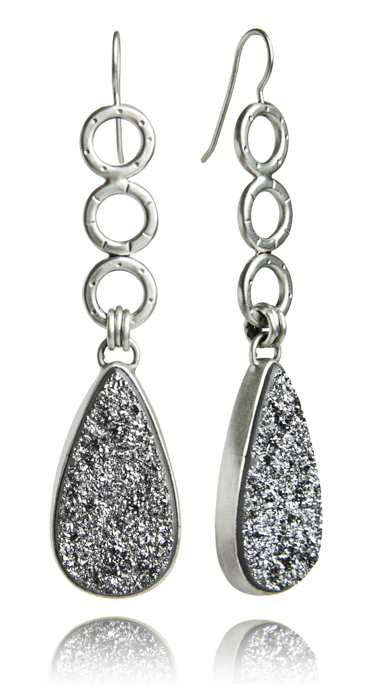 Sterling Silver and Silver Druzy Oscar Earrings