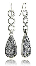 Sterling Silver and Silver Druzy Oscar Earrings by Jodi Brownstein (Silver & Stone Earrings)