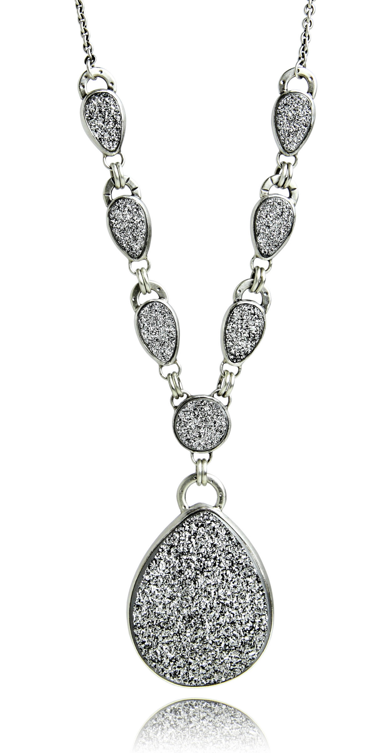 Silver Drusy Statement Necklace