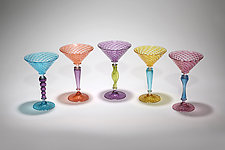 Multicolor Martini Glass by Michael  Hermann and Gina Lunn (Art Glass Drinkware)