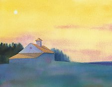 Morning Moon, Cerulean by Suzanne Siegel (Giclee Print)