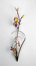 Iris with Monarch by Loy Allen (Art Glass Wall Sculpture)