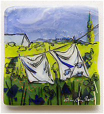 Laundry Day by Alice Benvie Gebhart (Art Glass Wall Sculpture)
