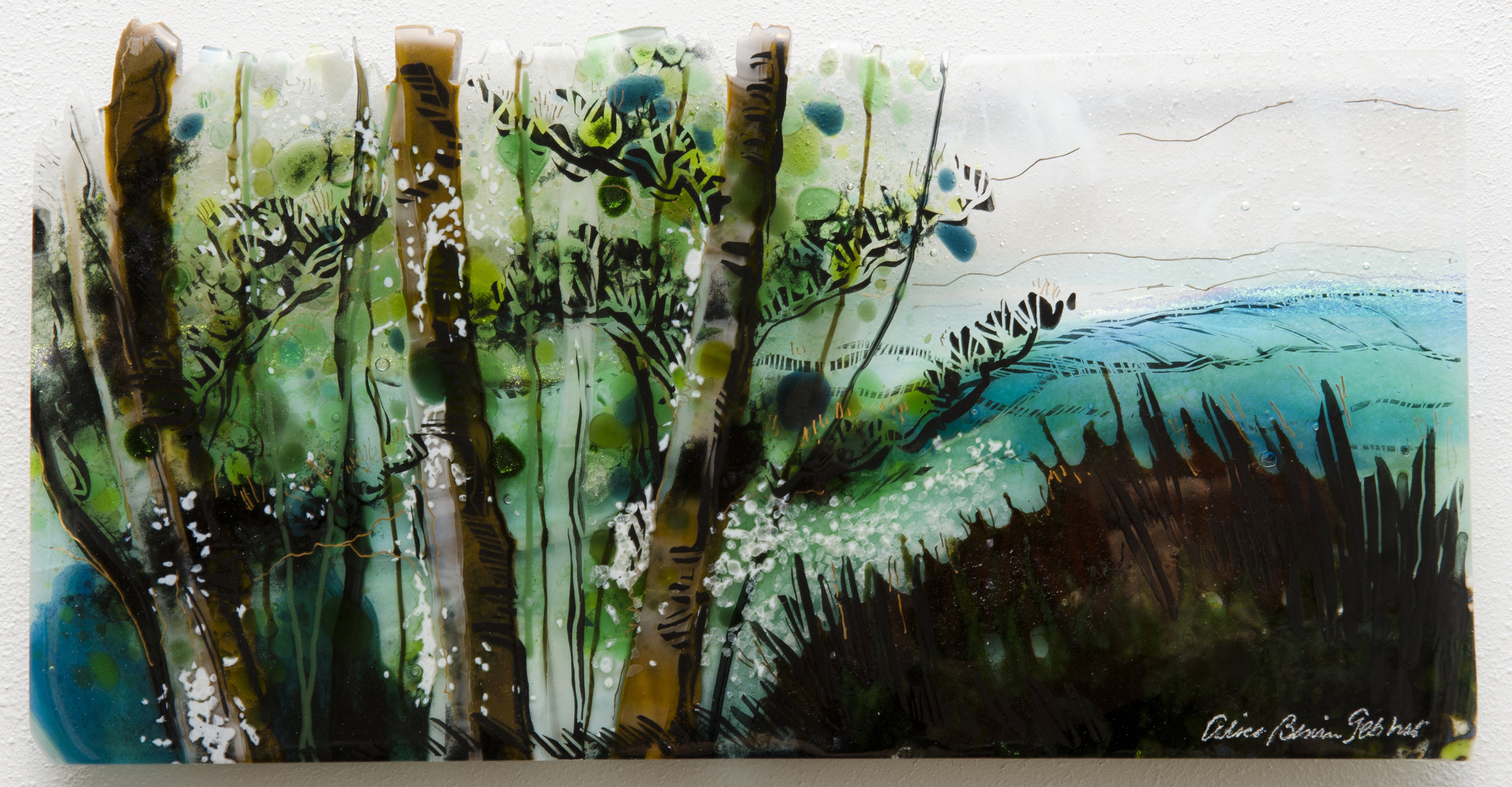 Wall Art For Glass : New england view by alice benvie gebhart art glass wall