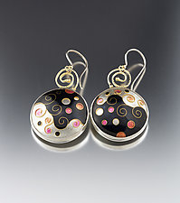 GoodnPlenty Cloisonne Earrings by Jan Van Diver (Enameled Earrings)