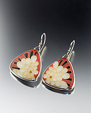 Art Deco Petal Earrings by Jan Van Diver (Enameled Earrings)