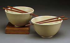 White Rice Bowls with Chopsticks by Daniel  Bennett (Ceramic Bowls)