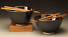 Classic Black Rice Bowls with Chopsticks by Daniel  Bennett (Ceramic Bowls)