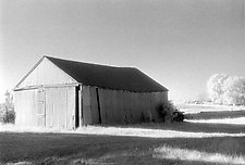 Barn and Shadows by Elizabeth Holmes (Black & White Photograph)