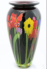 Black Wildflower Bouquet Vase by Mayauel Ward (Art Glass Vase)
