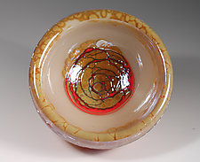 Ivory & Gold Bubble Bowl by Cristy Aloysi and Scott Graham (Art Glass Bowl)
