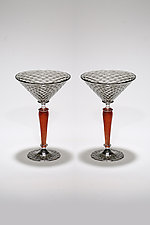 Gray and Red Martini Set by Michael  Hermann and Gina Lunn (Art Glass Stemware)