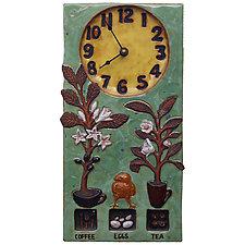 Coffee, Tea & Eggs Ceramic Wall Clock in Tea & Yellow Glaze by Beth Sherman (Ceramic Clock)