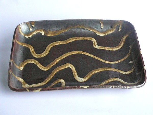 Rectangular Platter - Gold Waves on Temmoku