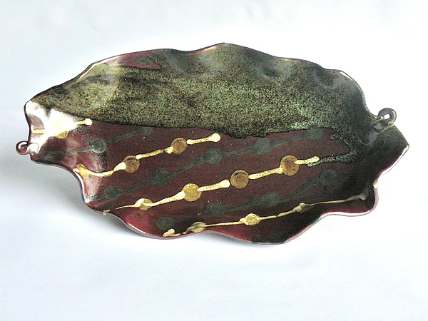 Asymmetric Oval Platter - Oribe with black and zeist chains glaze motif