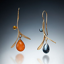 Leaf Drop by Susan Kinzig (Gold & Stone Earrings)