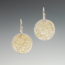 Gold Dust Disc Earrings by Dean Turner (Gold & Silver Earrings)