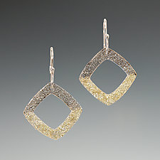 Gold Dust Square Earrings by Dean Turner (Gold & Silver Earrings)