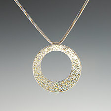 Gold Dust Circle Pendant by Dean Turner (Gold & Silver Necklace)