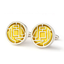 Giacometti Cuff Links by Victoria Varga (Gold & Silver Earrings)