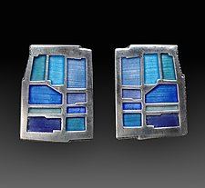 Bluestone Wall Earrings No. 222 by Carly Wright (Enameled Earrings)