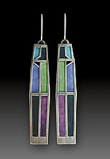 Crossroads Earrings No. 422 by Carly Wright (Enameled Earrings)