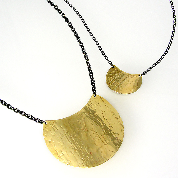 Helena Shield Necklace in Brass