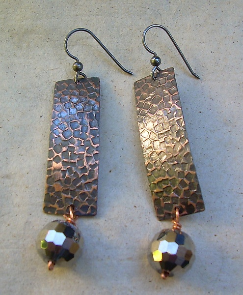 Embossed Copper Disco Ball Earrings
