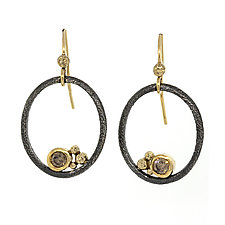 Rounded Open Oval with Cognac Diamonds by Rona Fisher (Gold & Silver Earrings)