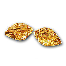 Gold Leaf Studs by Vickie  Hallmark (Gold Earrings)