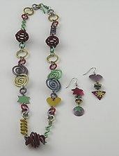 Raspberry Bead Necklace & Dusty Rose Earrings by Sylvi Harwin (Aluminum Jewelry)