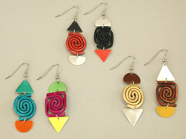 Swirl & Square Earrings