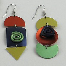 Triangle & Swirl Earrings by Sylvi Harwin (Aluminum Earrings)