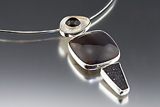Snake River Earth Toned Silver Pendant by Jan Van Diver (Silver & Stone Necklace)