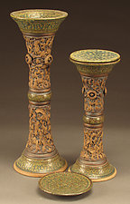 Time-Honored Blue and Green Candlesticks by Daniel  Bennett (Ceramic Candleholders)