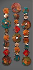 Circle Sticks with Red Square by Rhonda Cearlock (Ceramic Wall Sculpture)