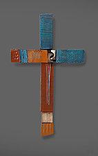 Blue Cross by Rhonda Cearlock (Ceramic Wall Sculpture)