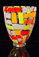 Large Cherry Mango Vase by Michael Egan (Art Glass Vase)