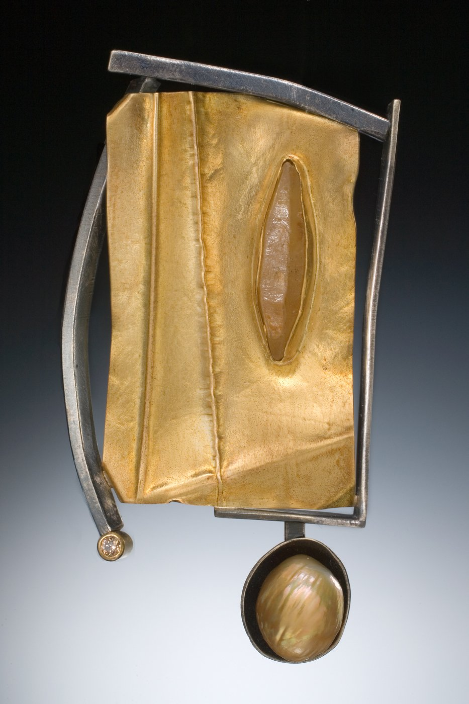 Folded Gold Brooch By Deborrah Daher Gold Silver