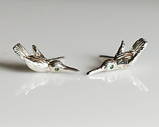 Hummingbird Studs with Sapphire by Gillian Batcher (Silver & Stone Earrings)