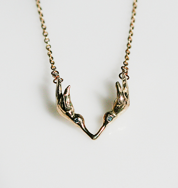 Gold Kissing Hummingbird Necklace
