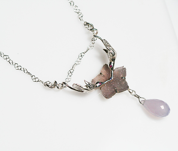 Kissing Hummingbird Druzy Quartz Necklace