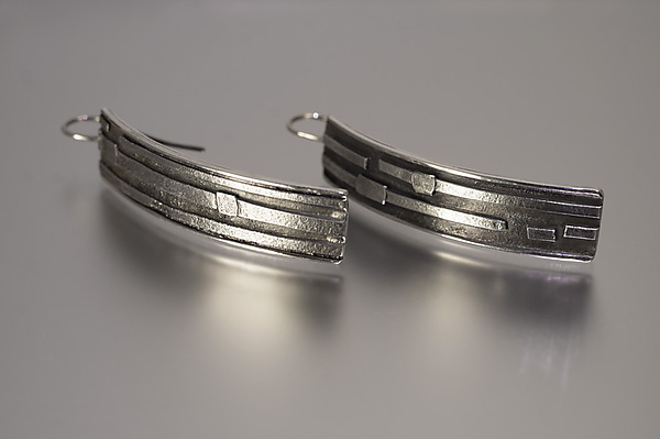 Textured Silver Ribbons Earrings