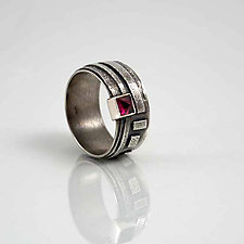 Geometric Patterned Band with Pyramid Garnet by Jan Van Diver (Silver & Stone Ring)