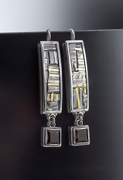Geometric Mixed Metal Earrings with Smoky Topaz