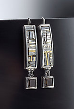 Geometric Mixed Metal Earrings with Smoky Topaz by Jan Van Diver (Silver & Stone Earrings)