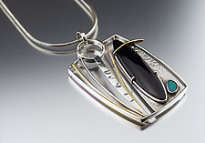 Modern Onyx and Opal Pendant by Jan Van Diver (Gold, Silver & Stone Necklace)