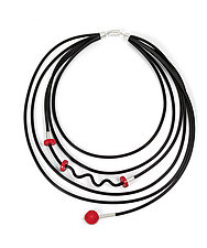 Fun with Coral Necklace by Dagmara Costello (Rubber & Stone Necklace)