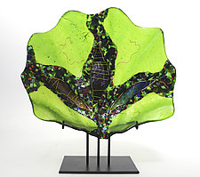Peridot Shell on Stand by Karen Ehart (Art Glass Sculpture)