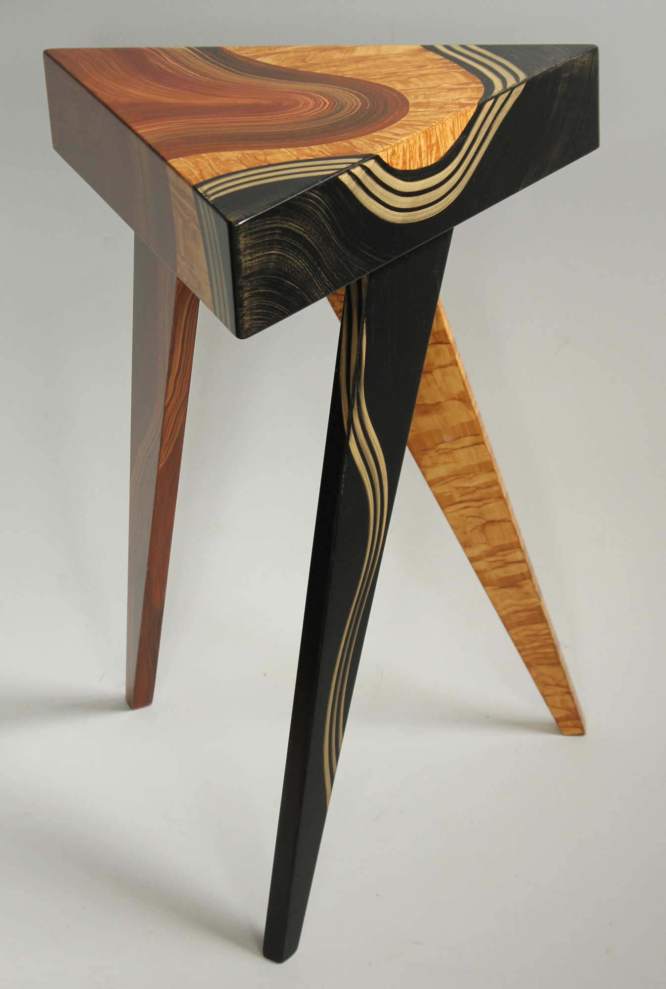 Vienna triangle table by ingela noren and daniel grant for Wood side table